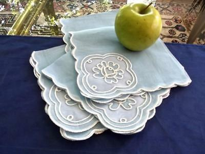 """4 Vintage Unused Blue Cotton Organdy 13"""" Lunch Napkins White Tambour Embroidery"""