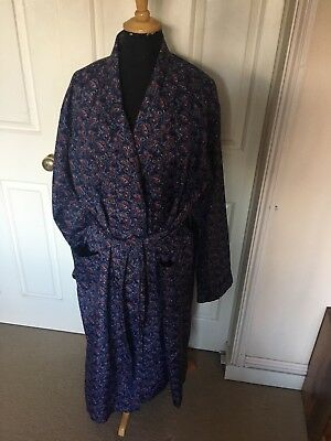 Vintage Men's Dressing Gown/Smoking Jacket M&S John Randall Navy Paisley Large