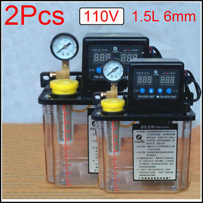 2Pcs 110V 1.5L 6mm Dual Digital Display Automatic Lubrication Pump Oiler NC Pump