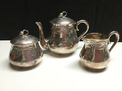 German Art Nouveau Kayserzinn Pewter Antique #4290  4-Piece Set