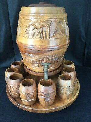 Vintage Hand Crafted Wood Barrel Keg With Lazy Suzy and 12 Cups