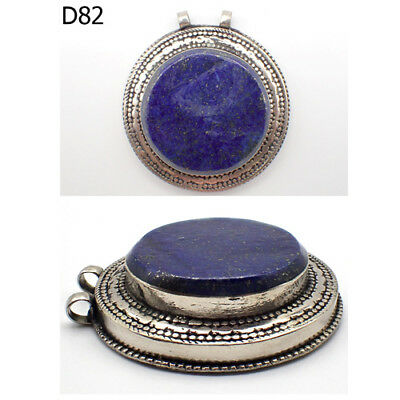 Amazing Old Post Medieval Blue Lapis Lazuli Stone Silver Pendant #D82