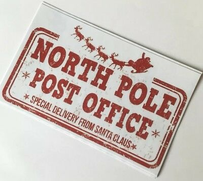 5 x Large North Pole Post Office Stickers - Special Delivery from Santa Claus!