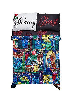 Disney Beauty And The Beast Stained Glass Full/queen Comforter