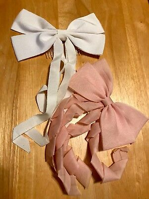 1950's Hair bows, Hair combs - Set of 2 - Pink & White