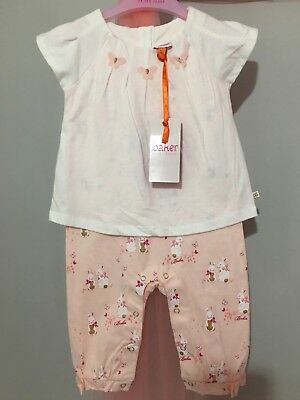 New Baby Girls Designer Ted Baker Bunny Print Summer Romper Outfit 6-9m