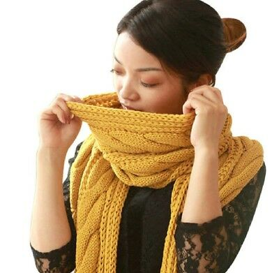 Autumn Winter Women Thick Knitted Woolen Scarves Warm Solid Twisted Brown Shawls