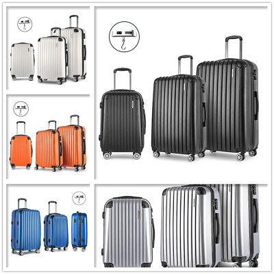 3pcs Travel Luggage Set Lightweight Trolley Hard Suitcase Lock Carry On Bag New