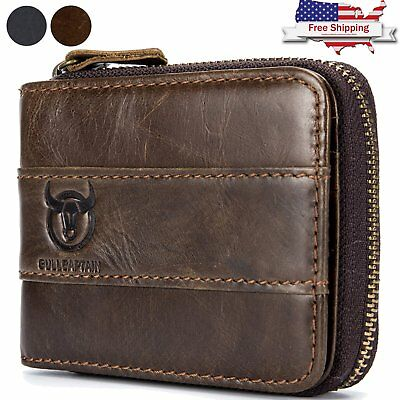 Mens Genuine Leather Wallet RFID Blocking Zip Around ID Card Window Bifold Purse