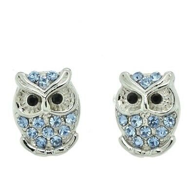 Owl Blue Earrings Made With Swarovski Crystal Smart Wise Stud Jewelry Gift