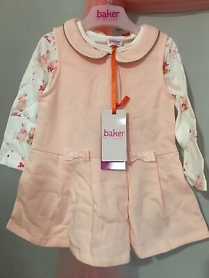 New Baby Girls Designer Ted Baker Pink Dress & Bunny Top 2 Piece Outfit 9-12m