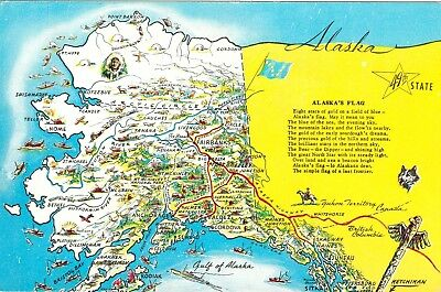 VINTAGE Alaska 49th State Cities Map and Flag Unposted Chrome Postcard