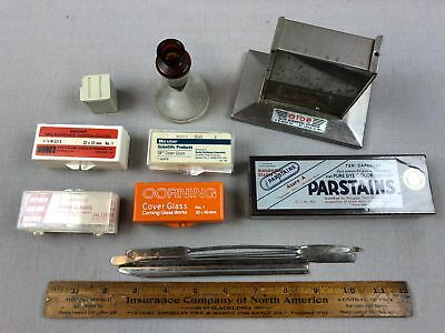 VTG Lab Equip Microscope Cover Glass Baxter Aloe Corning Parstains Tools Beaker