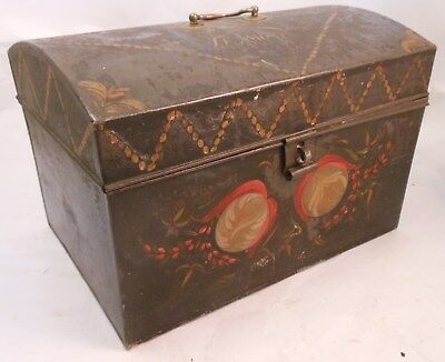 Incredible 19th Century Oversize Toleware Decorated American Tin Document Box