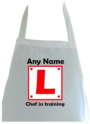 Personalised Chef In Training Learner Print Soft Polyester Apron Kitchen Craft