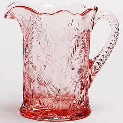 Pitcher - Inverted Thistle - Rose Pink Glass - Mosser USA