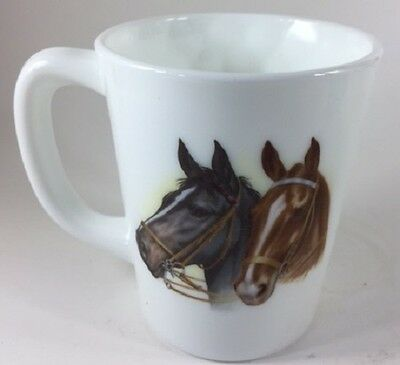 Mug w/ Horse Heads (Black & Brown) - Milk Glass - Rosso Exclusive - USA