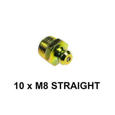 8mm M8 x 1mm Grease Nipples - Straight (Pack of 10)