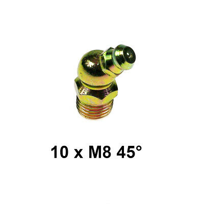 8mm M8 x 1mm Grease Nipples - 45 Degree (Pack of 10)