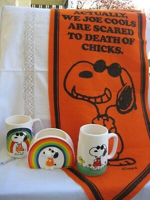 Vintage Snoopy Joe Cool Lot of 4.  Banner, Steins and Planter 70s
