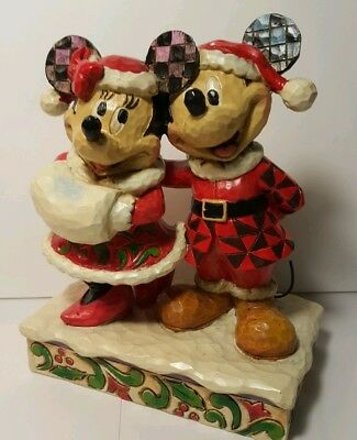 Walt Disney Mickey & Minnie Mouse Christmas Jim Shore Figurine Holiday Duet