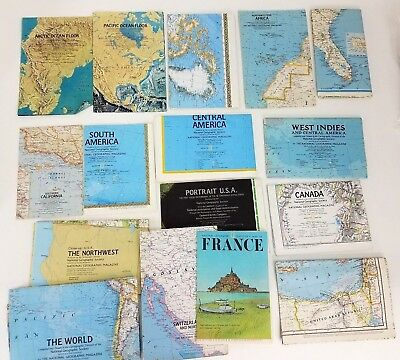 Lot of 16 Maps National Geographic Places: World, Africa, S. & Central America..