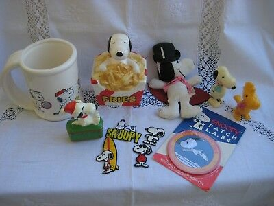 Vintage Snoopy Lot of 11  Ceramic Bank, Ornament, Stein, Patches, etc. 70s