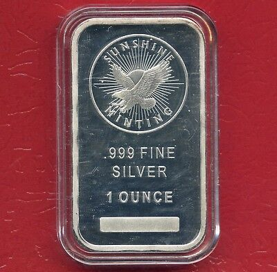 Sunshine Minting 1 Oz Silver Bar In Capsule (.999 Fine) Mint Mark SI