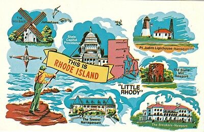 VINTAGE This Is Rhode Island  The Ocean State   Chrome  Postcard LK-1056