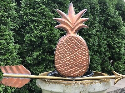 "Large Copper Pineapple Weathervane 26"" Long Vintage Garden Art"
