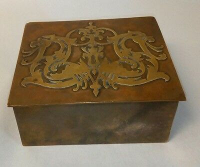 Vintage SilverCrest REAL BRONZE Dresser Box with Glass Dish Insert