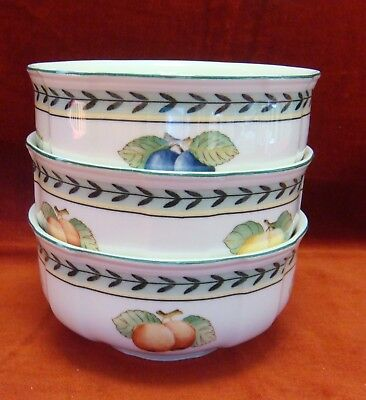 3 Gently Used Villeroy and Boch French Garden Fleurence Fruit Bowls