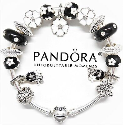 Authentic Pandora Bracelet Silver Bangle With White & Black Love European Charms
