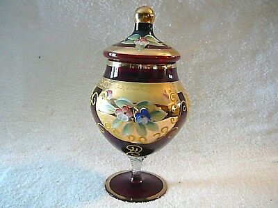 Gold Encrusted Czech Ruby Red Covered Candy Dish Handpainted, Raised Decoration
