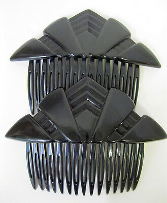 Vtg New Well Made Black Lucite Side Hair Combs Pair 70's 80's Deco Retro Modern