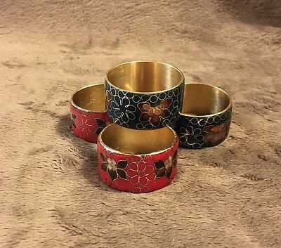 Set Of Four Brass Cloisonné  Napkin Rings/ 2 Red And 2 Green