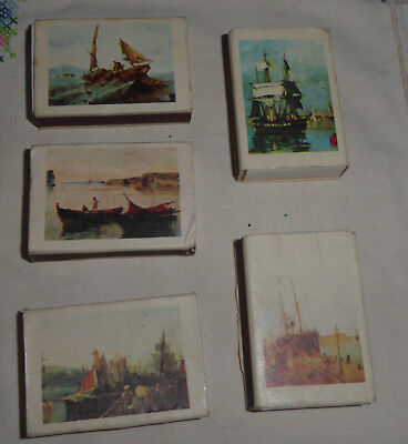 Lot of 5 Vintage Boxes Wooden Matches with paintings by Konstantinos Volanakis