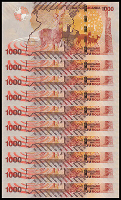 Lot 10Pcs Uganda 1000 Shillings Africa Paper Money,2013,P-49,Uncirculated