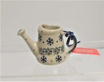 Boleslawiec Polish Pottery WATERING CAN Snowflakes Christmas Ornament