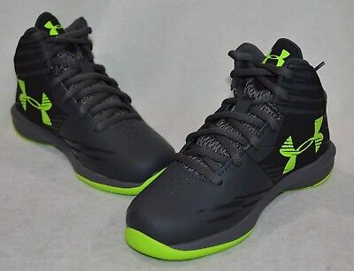 a8ae354f60b6 Under Armour UA BPS Jet Charcoal Blk Volt Mid Boy s Basketball Shoes - 11