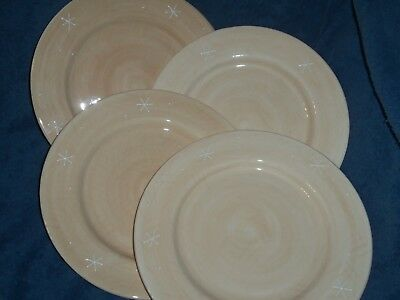 "HOME Northwoods Collection Dinner Plates Lot of 4 Snowflakes 10 1/2"" Diameter EC"