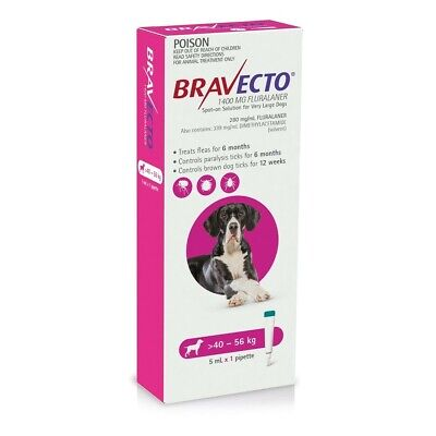 Bravecto Spot-on Flea & Tick Treatment for Dogs 40-56kg