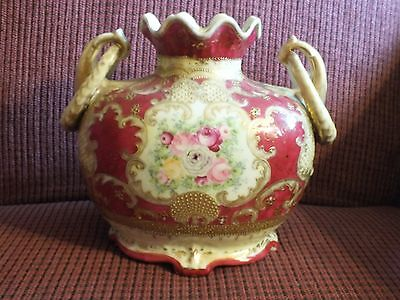 Antique 19th Century Nippon Hand Painted Rose Footed Beaded Vase Roses Handles