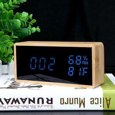 Wooden LED Induction ​Sound Control Alarm Clock Thermometer Timer Calendar LOT