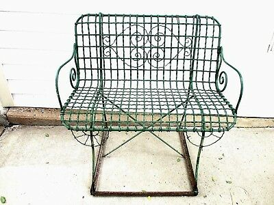 """Antique Victorian Joined Hearts 37""""  Wrought Iron and Wired Bench - Garden Patio"""