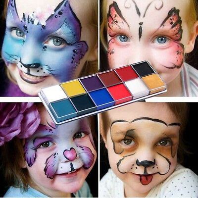 12 Colors Face Body Paint Oil Painting Art Make Up Set Halloween Party Fancy Kit
