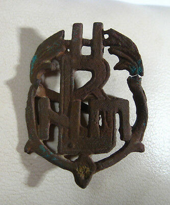 Vintage Antique  Bronze  Monogram Patina Medieval  post medieval /992