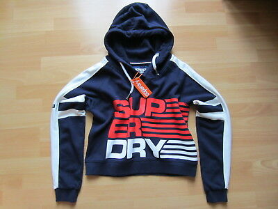 SUPERDRY SHORTIE CROP HOOD 79€ Kapuzenpulli Sweat Hood Hoodie XL sports navy NEU