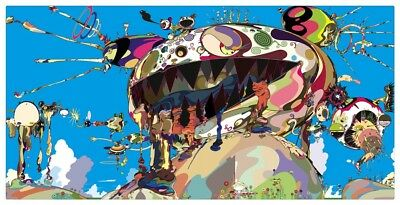 Takashi Murakami coined Superflat Oil Painting HD Print Wall Art on Canvas 16x32