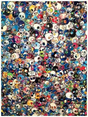 Takashi Murakami Skulls Oil Painting HD Print Wall Art on Canvas 24x32""